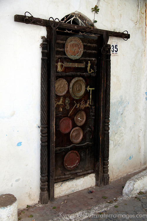 Africa, Morocco, Rabat. The door of a blacksmith's home, Kasbah Oudaya, the old city of Rabat.