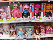 Dolls on display  in a toy shop