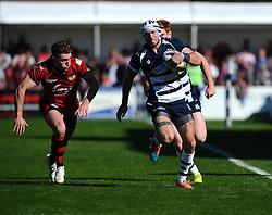 Bristol Rugby Winger Ryan Edwards breaks away  - Mandatory byline: Joe Meredith/JMP - 07966386802 - 26/09/2015 - RUGBY - St. Peter -Saint Peter,Jersey - Jersey Rugby v Bristol Rugby - Greene King IPA Championship