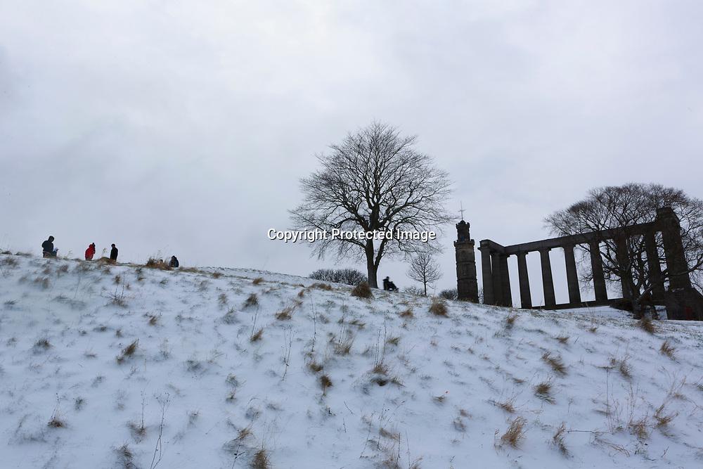 Edinburgh, Scotland 28th February 2018. Calton Hill covered of snow as temperature are below 0 degree.                                                                                                                                 Pako Mera
