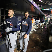 NEW YORK, NEW YORK - MAY 03:  Freddie Freeman, (left),  #5  and Jeff Francoeur #18 of the Atlanta Braves in the dugout preparing to bat during the Atlanta Braves Vs New York Mets MLB regular season game at Citi Field on May 03, 2016 in New York City. (Photo by Tim Clayton/Corbis via Getty Images)