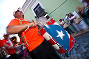A drummer during the Festival of San Sebastian in San Juan, Puerto Rico.