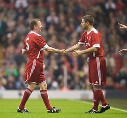 LIVERPOOL, ENGLAND - Thursday, May 14, 2009: Liverpool Legends' Jamie Redknapp prepares to come on as a substitute for Ronnie Whelan during the Hillsborough Memorial Charity Game at Anfield. (Photo by David Rawcliffe/Propaganda)