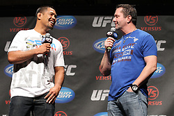 October 1, 2011; Washington D.C.; USA; Mark Munoz and Mike Goldberg talk with fans during the UFC Fight Club Q & A during the UFC on Versus Weigh-In's at the DC Armory.