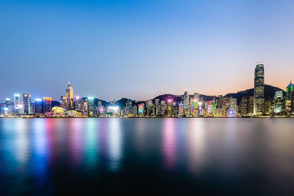 Hong Kong skyline at sunset seen from Tsim Sha Tsui