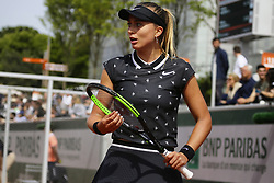May 22, 2019 - Paris, France - Paula  Badosa Gibert of Spain in action during the first qualifications round of Roland Garros against Tamara Korpatsch of Germany, on 22 May 2019 in Paris, France, (Credit Image: © Ibrahim Ezzat/NurPhoto via ZUMA Press)