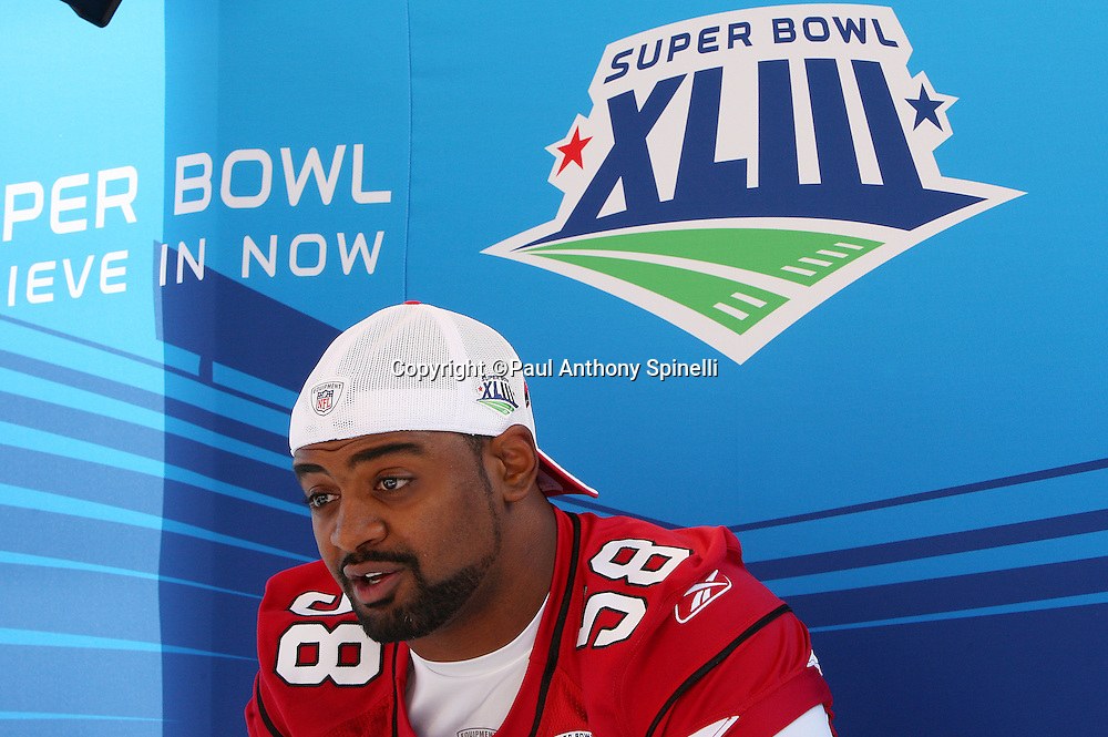 TAMPA, FL - JANUARY 27: Linebacker Karlos Dansby #58 of the NFC Arizona Cardinals speaks to the media during Super Bowl XLIII Media Day at Raymond James Stadium on January 27, 2009 in Tampa, Florida. ©Paul Anthony Spinelli *** Local Caption *** Karlos Dansby