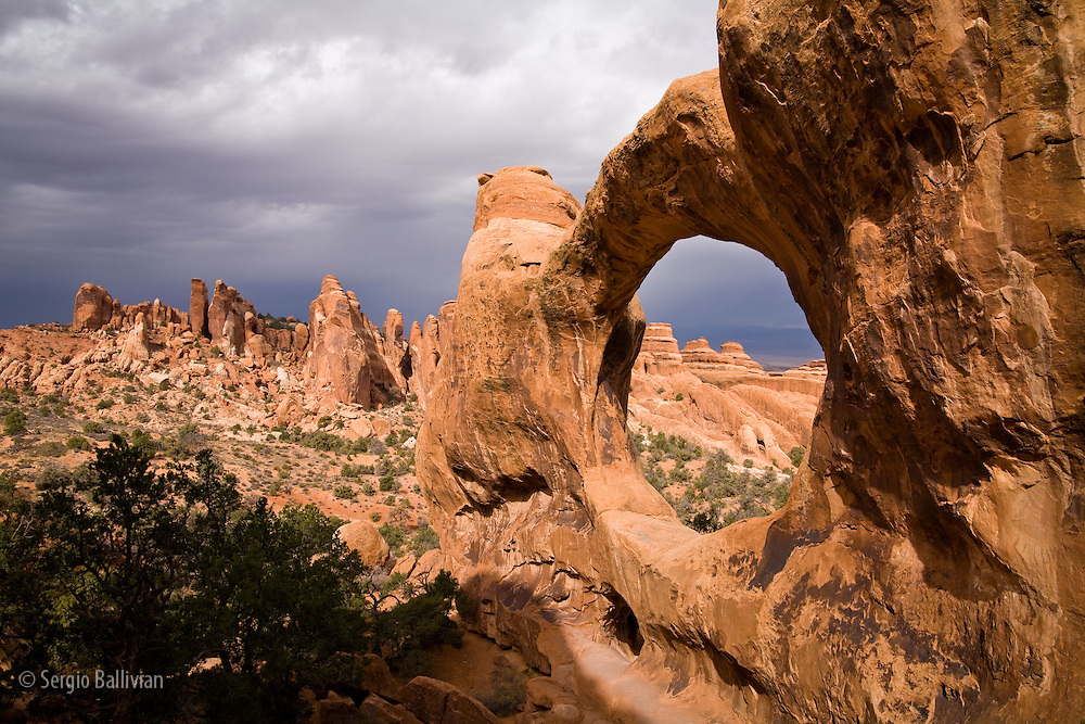 Double O Arch in Devil's Garden section in Arches National Park near Moab, Utah