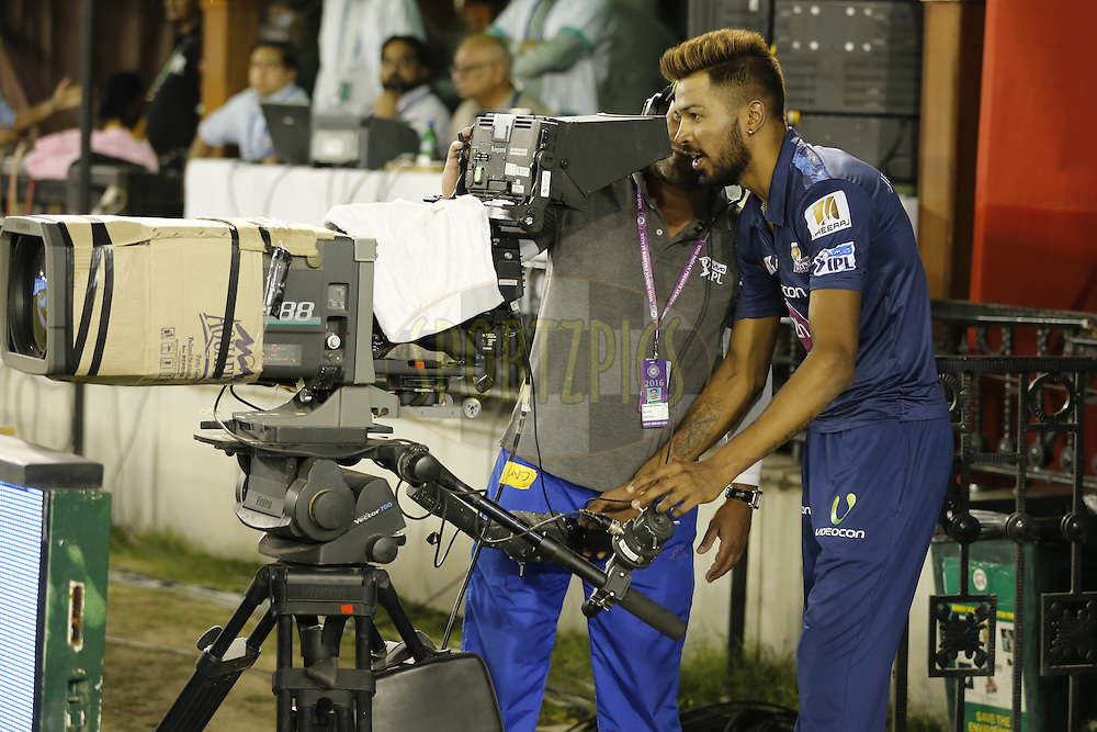 Hardik Pandya of Mumbai Indians with camera man during match 21 of the Vivo Indian Premier League ( IPL ) 2016 between the Kings XI Punjab and the Mumbai Indians held at the IS Bindra Stadium, Mohali, India on the 25th April 2016<br /> <br /> Photo by Arjun Singh / IPL/ SPORTZPICS
