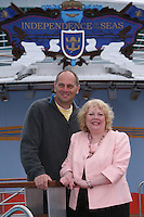 Royal Caribbean's Independence of the Seas..The worlds largest cruise ship, Independence of the Seas is named today in Southampton by Godmother Elizabeth Hill from Derbyshire..The Godmother was chosen following a nationwide search, led by Sir Steve Redgrave and Royal Caribbean's charity partner, the Steve Redgrave Fund, to find a woman who had done extraordinary work to improve the lives of young people..Pic shows -  Godmother Elizabeth Hill and Sir Steve Redgrave..Queries pls phone Sarah Rathbone - 07967361511