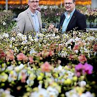 Nederland, Markapelle, 3 juni 2016<br /> de grootste orchideenkwekerij ter wereld (familiebedrijf van 5 broers waaronder de CEO, CFO komt van buiten.<br /> Op de foto: Martin Smaal CEO<br /> Rob de Rooij CFO <br /> <br /> <br /> Foto: Jean-Pierre Jans