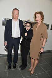 Left to right, HANS ULRICH OBRIST, YOKO ONO and JULIA PEYTON-JONES at a private view of Yoko Ono's work - To The Light held at The Serpentine Gallery, Kensington Gardens, London on 19th June 2012.