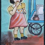 "A decoration painting depicting a little girl eating Gupchup (the local Chhattisgarh name for Gol gappa or pani puri) on the side of ""Deepak Gupchup Bhandar"", a bicycle cart shop in Raipur, Chhattisgarh"