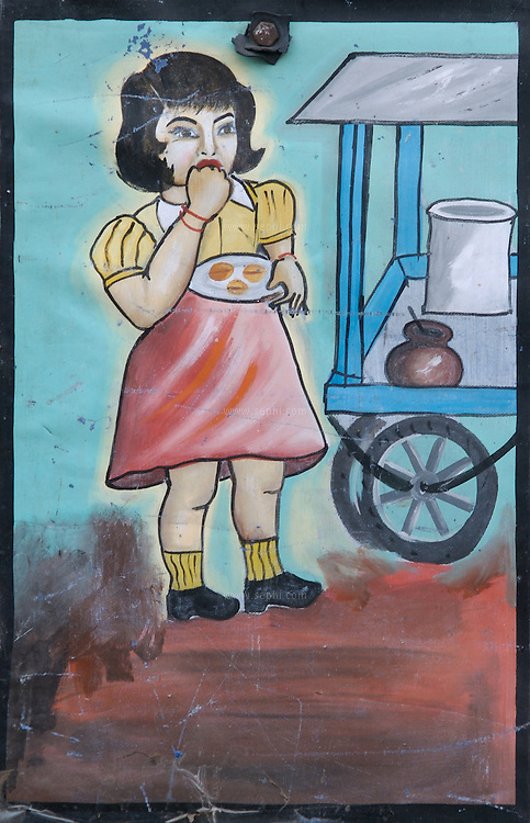 "A decoration painting depicting a little girl eating Gupchup (the local Chhattisgarh name for Gol gappa or pani puri) on the side of ""Deepak Gupchup Bhandar"", a bicycle cart shop in Raipur, Chhattisgarh"