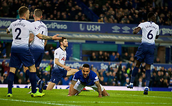 LIVERPOOL, ENGLAND - Sunday, December 23, 2018: Everton's Theo Walcott celebrates scoring the first goal during the FA Premier League match between Everton FC and Tottenham Hotspur FC at Goodison Park. (Pic by David Rawcliffe/Propaganda)