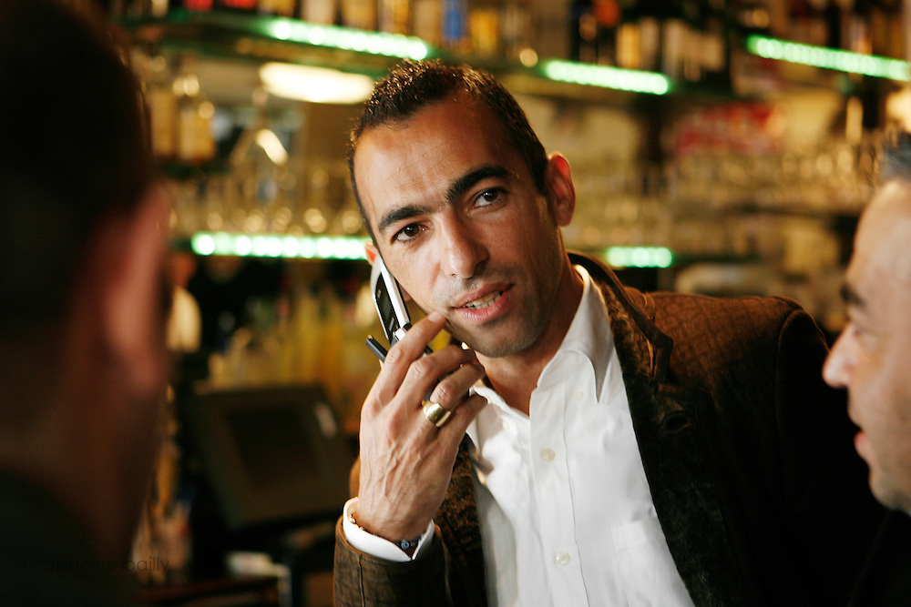 Saturday October 14th 2006. New York, New York. United States..Red Bulls French soccer player Youri Djorkaeff with his brothers and cousins at L'Express on Park Avenue in the morning of a game that could be his last one as a professional player against Kansas City at the Giants Stadium.