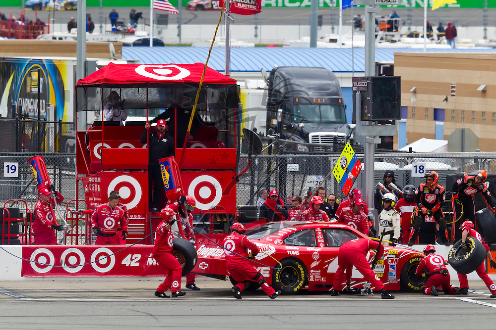 KANSAS CITY, KS - APR 22, 2012:  Juan Pablo Montoya (42) races during the STP 400 at the Kansas Speedway in Kansas City, KS.