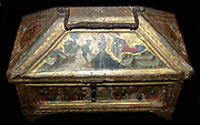Casket about 1360, possibly by Simone dei Crocifissi (1330-99).  The painting on the front of this casket shows the Baptism of Christ.  The coat of arms is that of a bishop, a member of the Baisi family of Bologna.  Caskets of this sort were used to store valuable items such as ecclesiastical rings.