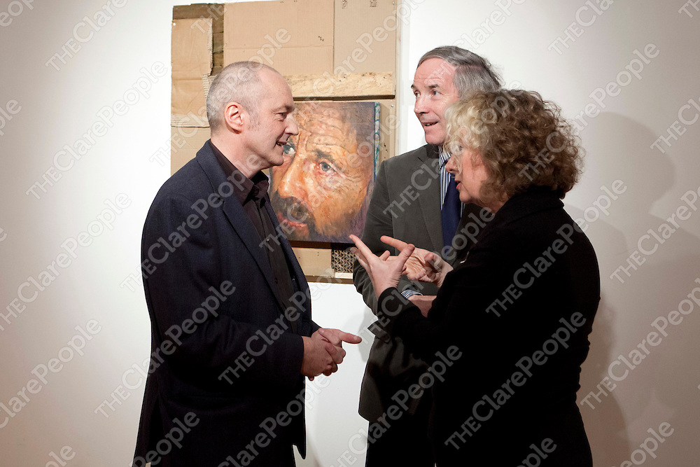 Free usage<br /> Eoin MacLochlainn and Patricia Moriarty, Bourn Vincent Gallery and John Lonergan pictured at the launch of HOME, an exhibition of new work by artist Eoin Mac Lochlainn at the Bourn Vincent Gallery, University of Limerick.<br /> Pic: Don Moloney/Press 22<br /> <br /> New Exhibition in UL Portrays Reality of Social Problems in Ireland<br /> Home, an exhibition by Eoin Mac Lochlainn, was launched recently at the Bourn Vincent Gallery, UL by John Lonergan, Former Governor of Mountjoy Prison.  Eoin Mac Lochlainn's exhibition reflects current Irish society and the problems of homelessness, poverty and social disintegration.<br /> Eoin Mac Lochlainn's art challenges the depiction of homelessness in the media and seeks to engage viewer's in the realities of homelessness instead of automatically overlooking those who are marginalised in society.  Speaking at the launch Eoin Mac Lochlainn asked; &quot;Who is more fitting to be portrayed - a businessman, a bishop or a homeless person?   Also, which seems more important - the oil paintings on the wall, the cardboard drawings on the ground or the coffee cup towers?  As an artist I feel an empathy with those on the margins of society.  I see my role as observer, my work as bearing witness in some way.  I am interested in exploring how art may produce a deeper and more enduring understanding of the contemporary experience than do media images&quot;.<br /> Eoin Mac Lochlainn graduated as a mature student in 2000 from the National College of Art and Design.  His major exhibitions since graduation include Lorg at the RHA Ashford Gallery in 2002, &Eacute;agnairc/Requiem, which were installed in the cells of Kilmainham Gaol, in 2005 and Caoineadh/Elegies in 2008/9. <br /> <br /> The exhibition is open for viewing until 27th April, on Monday to Friday, 9.30am - 5.30pm.