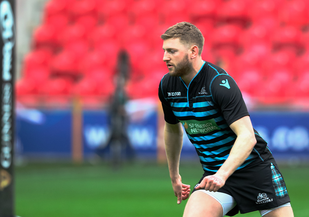 Glasgow Warriors' Finn Russell during the pre match warm up<br /> <br /> Photographer Simon King/Replay Images<br /> <br /> Guinness PRO14 Round 19 - Scarlets v Glasgow Warriors - Saturday 7th April 2018 - Parc Y Scarlets - Llanelli<br /> <br /> World Copyright © Replay Images . All rights reserved. info@replayimages.co.uk - http://replayimages.co.uk