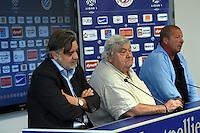 Laurent Nicollin / Louis Nicollin / Rolland Courbis  - 29.06.2015 - Reprise de Montpellier - 2015/2016<br />Photo : Alexandre Dimou / Icon Sport