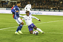 November 3, 2018 - Strasbourg, France - Mobandje Jacques Francois, during the French Ligue 1 football match between Strasbourg (RCSA) and Toulouse (TFC) on November 3, 2018 at the Meinau stadium in Strasbourg, eastern France. (Credit Image: © Elyxandro Cegarra/NurPhoto via ZUMA Press)