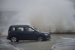 © London News Pictures. 29/01/2016 Aberystwyth, Wales, UK. Storm Gertrude hits Aberystwyth on the west coast of Wales. Amber and Red  weather warnings are in place for many western  and northern parts of the UK, with winds expected to gust up to 100mph in the Shetland Islands in the extreme north of Scotland. Photo credit: Keith Morris/LNP