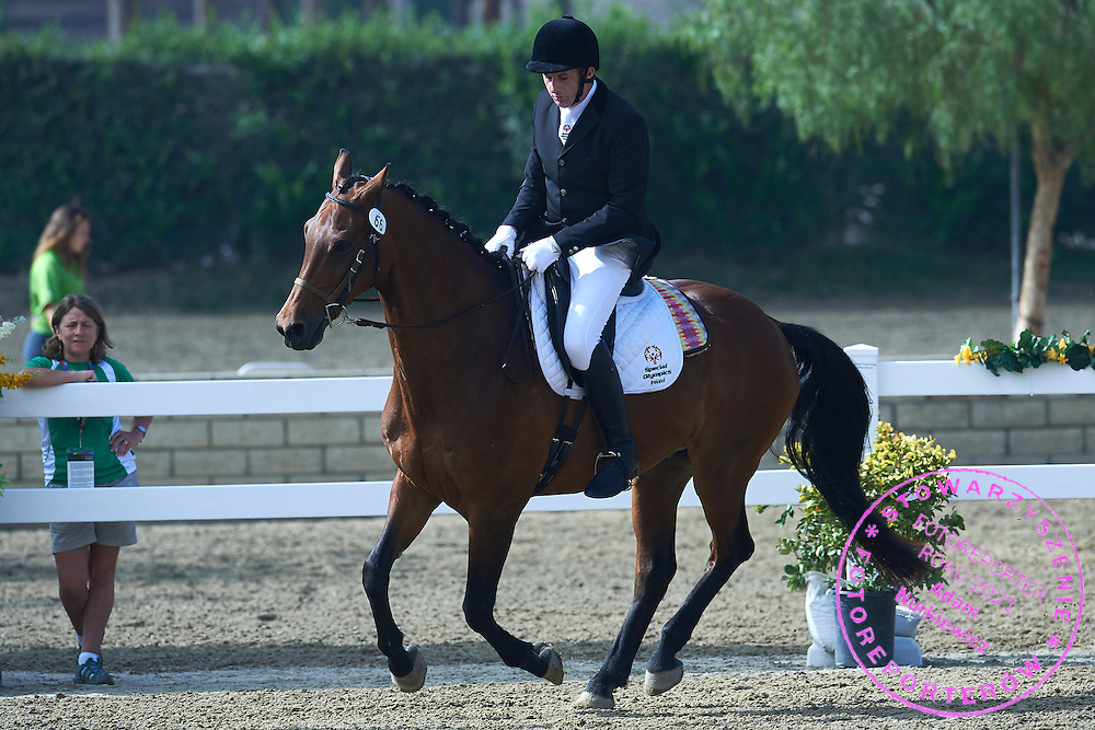 SO Ireland athlete John Deevy with horse called Rappi competes in equestrian competition during eighth day of the Special Olympics World Games Los Angeles 2015 on August 1, 2015 at Equestrian Centre Riverside Drive Burbank in Los Angeles, USA.<br /> USA, Los Angeles, August 1, 2015<br /> <br /> Picture also available in RAW (NEF) or TIFF format on special request.<br /> <br /> For editorial use only. Any commercial or promotional use requires permission.<br /> <br /> Adam Nurkiewicz declares that he has no rights to the image of people at the photographs of his authorship.<br /> <br /> Mandatory credit:<br /> Photo by &copy; Adam Nurkiewicz / Mediasport