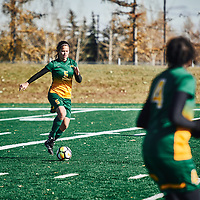 5th year defender, Angela Lalonde (5) of the Regina Cougars during the Women's Soccer home game on Sun Oct 14 at U of R Field. Credit: Arthur Ward/Arthur Images
