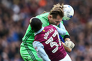 Keeper Tomasz Kuszczak of Birmingham City competing with Albert Adomah of Aston Villa during the Sky Bet Championship match at St Andrews, Birmingham<br /> Picture by Andy Kearns/Focus Images Ltd 0781 864 4264<br /> 30/10/2016
