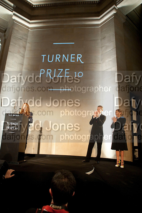 SUSAN PHILIPZ; MIUCCIA PRADA; SIR NICHOLAS SEROTA, Turner Prize 2010. Tate Britain. Millbank. London. 6 December 2010. -DO NOT ARCHIVE-© Copyright Photograph by Dafydd Jones. 248 Clapham Rd. London SW9 0PZ. Tel 0207 820 0771. www.dafjones.com.
