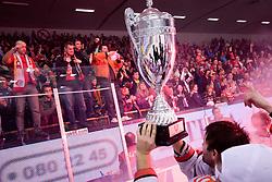 Players of Jesenice and fans at 6th Round of ice-hockey Slovenian National Championships match between HDD Tilia Olimpija and HK Acroni Jesenice, on April 2, 2010, Hala Tivoli, Ljubljana, Slovenia.  Acroni Jesenice won 3:2 after overtime and became Slovenian National Champion 2010. (Photo by Matic Klansek Velej / Sportida)
