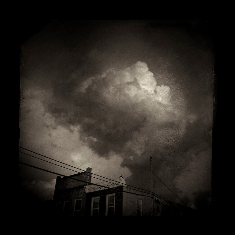 "Charles Blackburn Instagram image of a cloud over High Street in Mineral Point, WI. 5x5"" print."