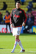 Chris Smalling of Manchester United before the Barclays Premier League match between Watford and Manchester United at Vicarage Road, Watford, England on 21 November 2015. Photo by Phil Duncan.