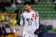 MELBOURNE, AUSTRALIA - APRIL 23: Lui Dianzuo (32) of Guangzhou Evergrande celebrates his teams goal during the AFC Champions League Group Stage match between Melbourne Victory and Guangzhou Evergrande at AAMI Park on April 23, 2019 in Melbourne, Australia. (Photo by Speed Media/Icon Sportswire)