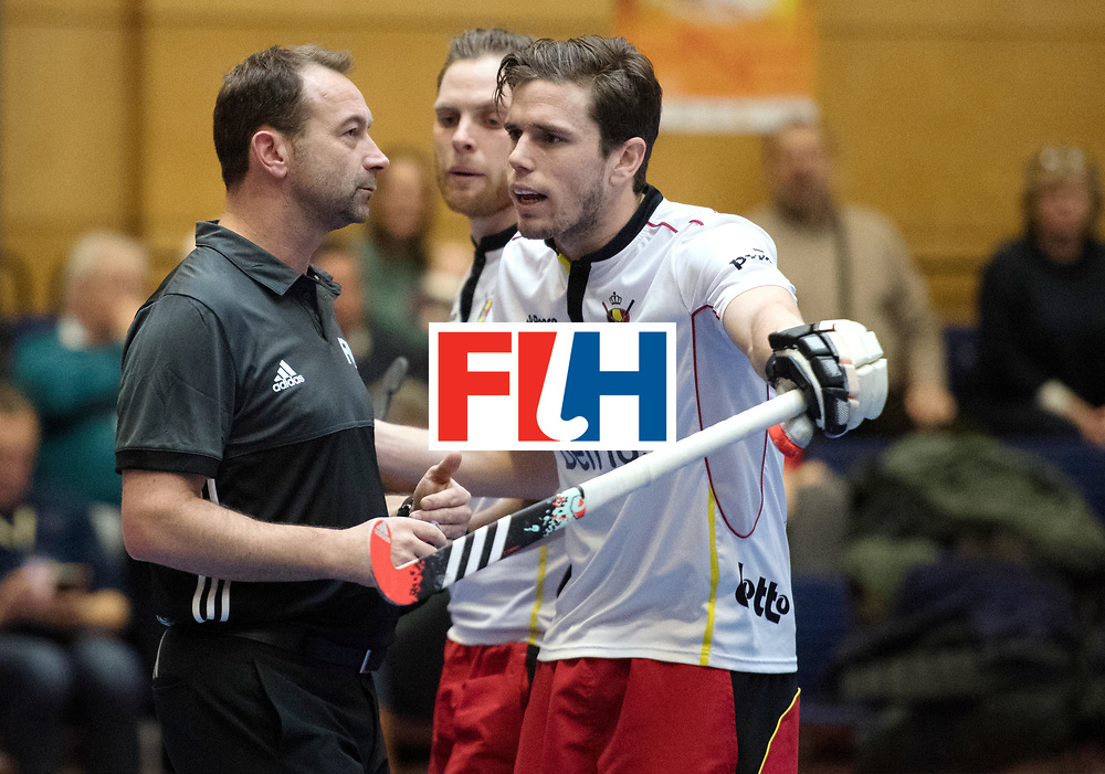 BERLIN - Indoor Hockey World Cup<br /> South Africa - Belgium<br /> foto: Umpire Lee Barron  <br /> WORLDSPORTPICS COPYRIGHT FRANK UIJLENBROEK