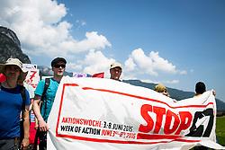 06.06.2015, Garmisch Partenkirchen, GER, G7 Gipfeltreffen auf Schloss Elmau, Circa 5000 Menschen demonstrieren in Garmisch-Patenkirchen gegen den G7-Gipfel im benachbarten Elmau, im Bild Das Fronttrasparent der Demonstration // uring Protest of the G7 opponents prior to the scheduled G7 summit which will be held from 7th to 8th June 2015 in Schloss Elmau near Garmisch Partenkirchen, Germany on 2015/06/06. EXPA Pictures © 2015, PhotoCredit: EXPA/ Eibner-Pressefoto/ Gehrling<br /> <br /> *****ATTENTION - OUT of GER*****