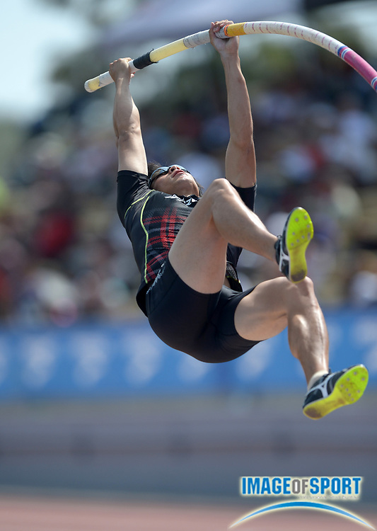 Apr 19, 2014; Walnut, CA, USA; Hiroki Ogita (JPN) ties for eighth in the pole vault at 17-6 (5.35m) in the 56th Mt. San Antonio College Relays.