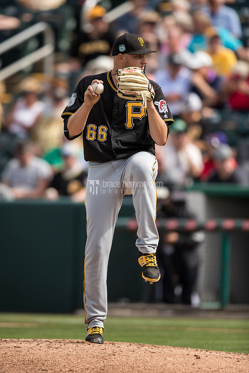 FORT MYERS, FL- MARCH 01: Dovydas Neverauskas #66 of the Pittsburgh Pirates pitches against the Minnesota Twins on March 1, 2017 at the CenturyLink Sports Complex in Fort Myers, Florida. (Photo by Brace Hemmelgarn) *** Local Caption *** Dovydas Neverauskas