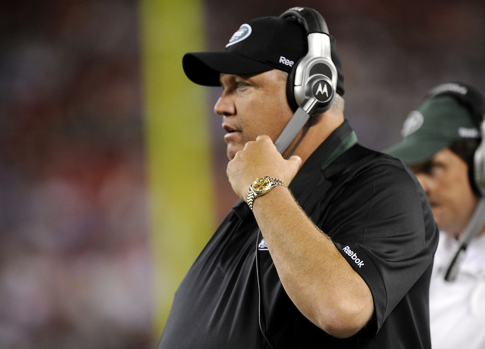 EAST RUTHERFORD, NJ - SEPTEMBER 3: Head Coach Rex Ryan of the New York Jets looks on from the sidelines during the game between the Philadelphia Eagles and the New York Jets on September 3, 2009 at Giants Stadium in East Rutherford, New Jersey. The Jets won 38-27. (Photo by Rob Tringali) *** Local Caption *** Rex Ryan