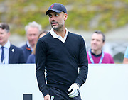 Pep Guardiola on the 1st hole during the Celebrity Pro-Am day at Wentworth Club, Virginia Water, United Kingdom on 23 May 2018. Picture by Phil Duncan.