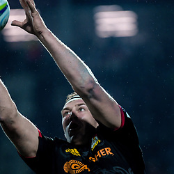 Brodie Retallick takes lineout ball during the Super Rugby match between the Chiefs and Hurricanes at FMG Stadium in Hamilton, New Zealand on Friday, 13 July 2018. Photo: Dave Lintott / lintottphoto.co.nz