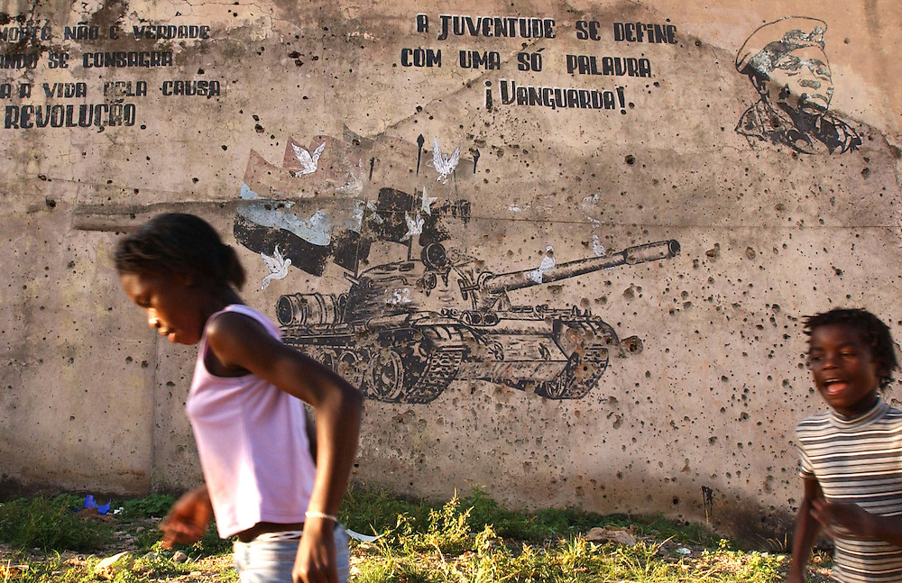 Children playing in the war torn town of Cuito, Angola.