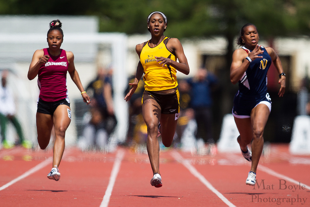 Rowan University freshman Shailah Williams competes in the women's 100 meter dash at the NJAC Track and Field Championships at Richard Wacker Stadium on the campus of  Rowan University  in Glassboro, NJ on Sunday May 5, 2013. (photo / Mat Boyle)