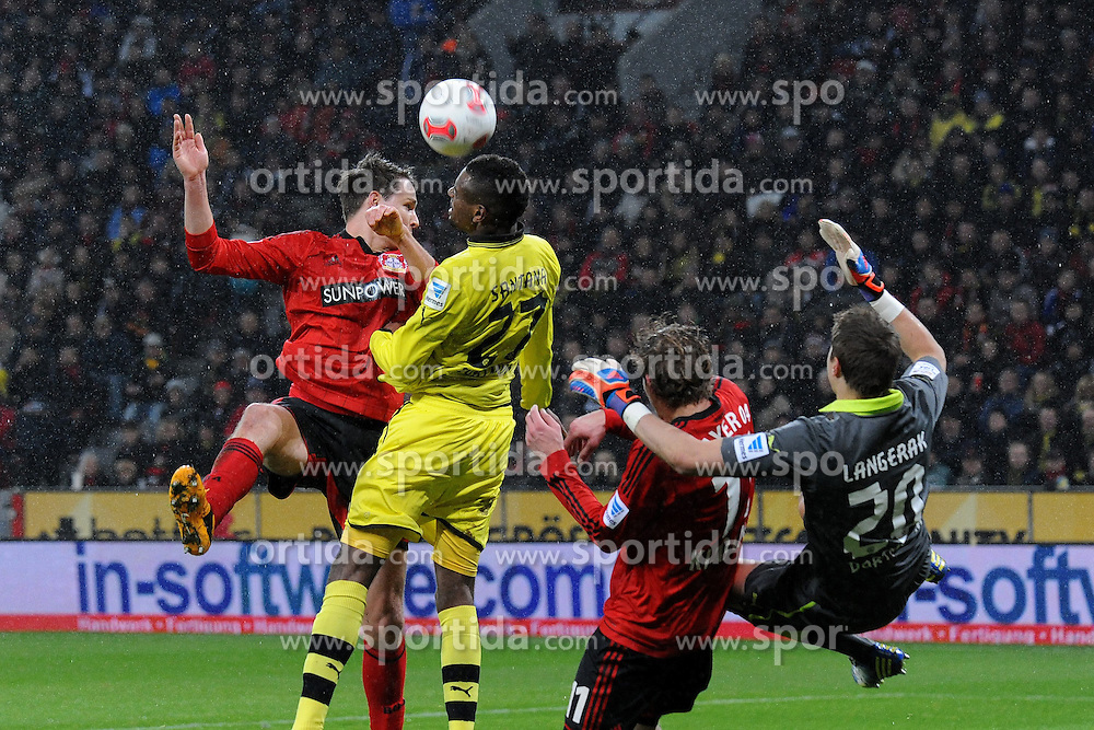 03.02.2013, BayArena, Leverkusen, GER, 1. FBL, Bayer 04 Leverkusen vs Borussia Dortmund, 20. Runde, im Bild V.l.n.r. Philipp Wollscheid ( Bayer 04 Leverkusen ) Felipe Santana ( Borussia Dortmund ) Stefan Kiessling ( Bayer 04 Leverkusen ) und Torhueter Mitch Langerak ( Borussia Dortmund/ Action/ Aktion ) // during the German Bundesliga 20th round match between Bayer 04 Leverkusen and Borussia Dortmund at the BayArena, Leverkusen, Germany on 2013/02/03. EXPA Pictures © 2013, PhotoCredit: EXPA/ Eibner/ Thomas Thienel..***** ATTENTION - OUT OF GER *****