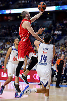 Real Madrid's Gustavo Ayon and Crvena Zvezda Mts Belgrade's Marko Simonovic during Turkish Airlines Euroleague match between Real Madrid and Crvena Zvezda Mts Belgrade at Wizink Center in Madrid, Spain. March 10, 2017. (ALTERPHOTOS/BorjaB.Hojas)
