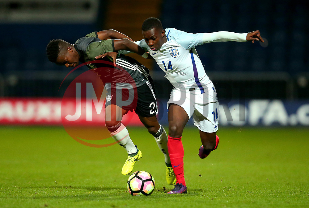 Edward Nketiah of England takes on Alfons Amade of Germany Under 19s - Mandatory by-line: Robbie Stephenson/JMP - 05/09/2017 - FOOTBALL - One Call Stadium - Mansfield, United Kingdom - England U19 v Germany U19 - International Friendly