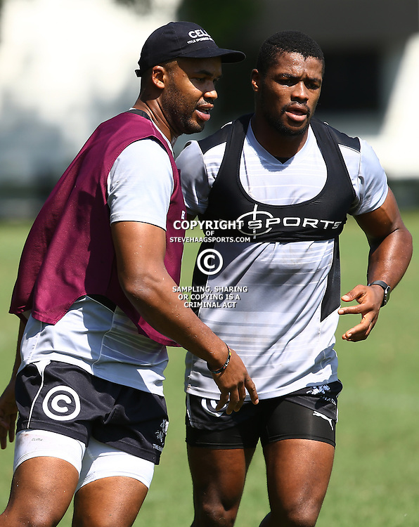 DURBAN, SOUTH AFRICA, 4 April, 2016 - JP Pietersen with Sibusiso Sithole during The Cell C Sharks training session  at Growthpoint Kings Park in Durban, South Africa. (Photo by Steve Haag)<br /> images for social media must have consent from Steve Haag
