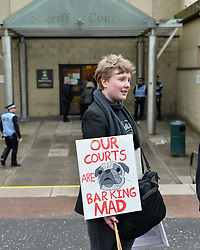 Pictured: supporters of Meechan outside court.<br /> <br /> Mark Meechan (30) from Coatbridge, Lanarkshire, returns to Airdrie Sheriff Court for sentencing after being convicted of filming his girlfriends pug raising it's paw in a nazi salute in response to phrases such as Sieg Heil. The clip, which was posted on Youtube, was viewed more than 3 million times. He was fined £800 GBP<br /> <br /> (c) Dave Johnston / Eem