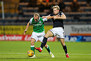 Dylan McGeouch (#10) of Hibernian battles for possession of the ball with AJ Leitch-Smith (#7) of Dundee during the Ladbrokes Scottish Premiership match between Dundee and Hibernian at Dens Park, Dundee, Scotland on 24 January 2018. Photo by Craig Doyle.